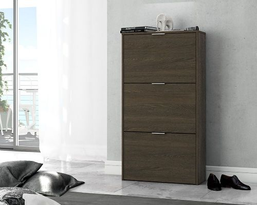 Brilo Dark Oak 3 Drawer Shoe Cabinet - 2895